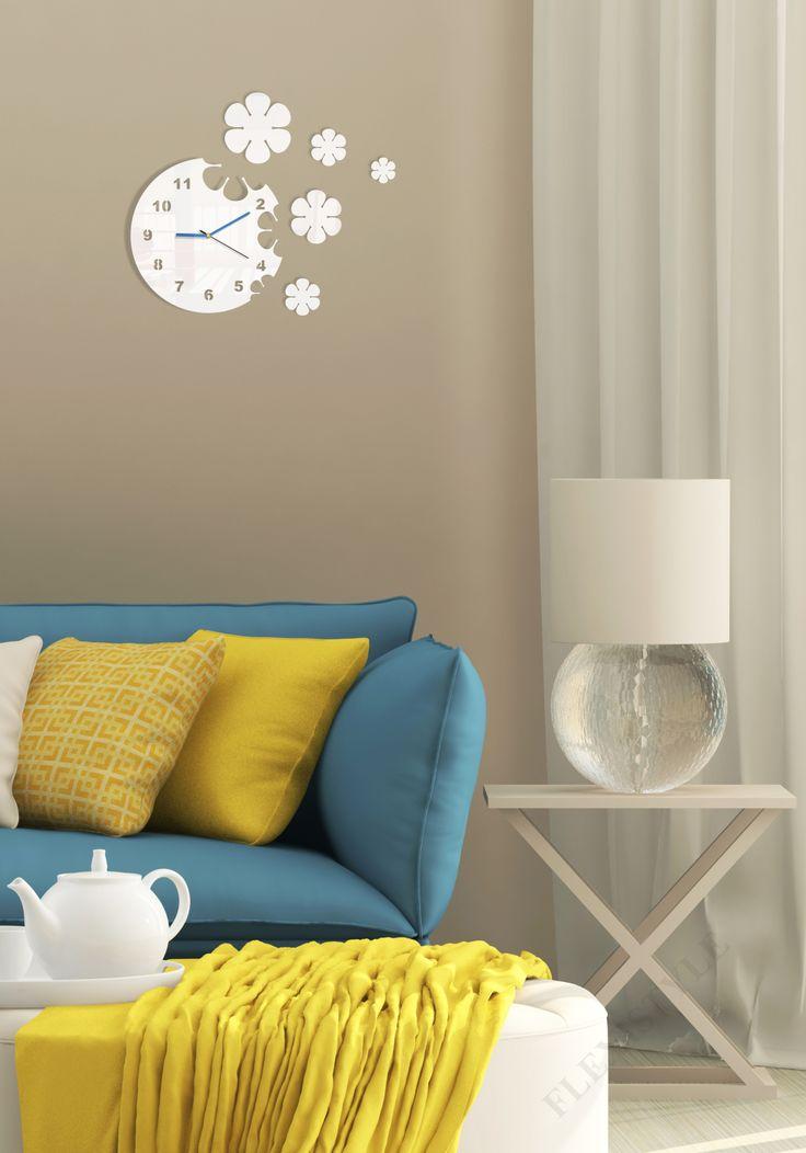 Nalepovacie hodiny na stenu s kvetmi