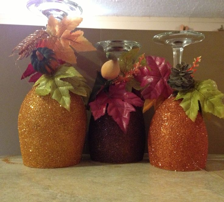 Wine glass candle holders.  LOVE the autumn colors!