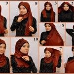 instruction on how to tie a hijab scarf