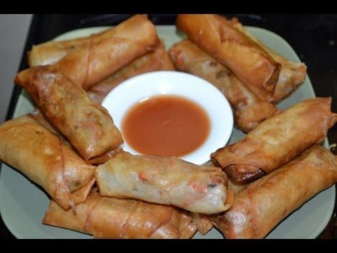 Como hacer Rollitos de primavera estilo Thai con salsa agridulce de cacahuetes(ปอเปี๊ยะทอด) - YouTube