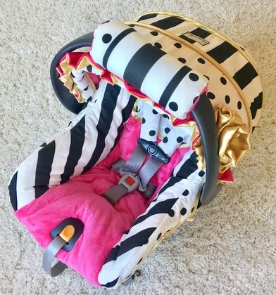 Black and White Stripe and Polka Dot, Hot Pink, and Gold Custom Infant Car Seat Cover