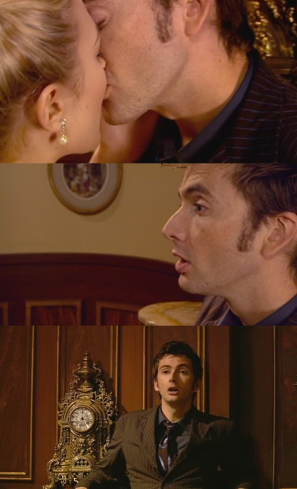 The Doctor (from Doctor Who; played by David Tennant) and Madame de Pompadour (played by Sophia Myles) share a kiss, leaving the Doctor dazed. ... My FAVORITE Doctor Who episode ever. <3
