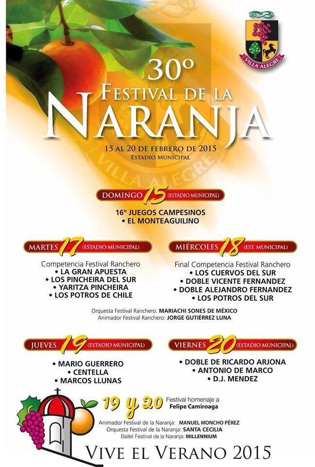 El 19 de Febrero #FestivalDeLaNaranja en Homenaje a Felipe Camiroaga @Marcosllunas en el Estadio Municipal de Villa alegre. ¡No faltes!