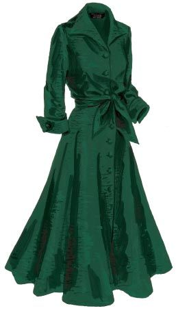 Made for mistletoe: J. Peterman Company's vintage-inspired silk dupioni dress.
