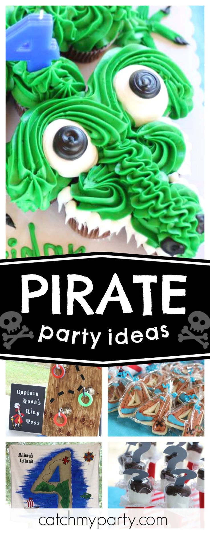 Check out this awesome Captain Hook inspired Pirate birthday party. The crocodile cupcakes are amazing!! See more party ideas and share yours at CatchMyParty.com #pirate #captainhook