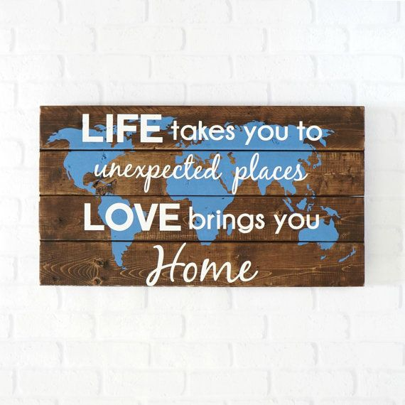 World Map Wall Art- 25x14''- Life Takes you to Unexpected Places- Military Signs- Military Deployment- Wooden Signs- Travel- Travel Map