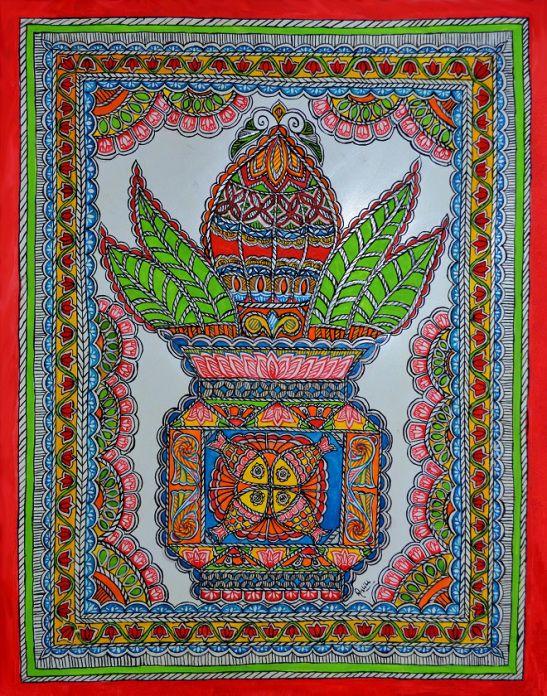 Kalash handpaintied in Mithila / Madhubani Painting