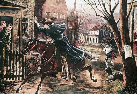 paul revere yelling the redcoats are coming! | Road To Revolution