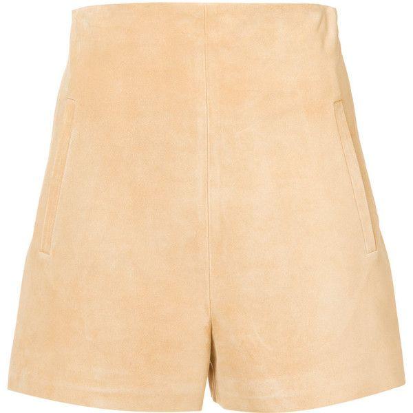 Rosetta Getty tailored fitted shorts ($1,150) ❤ liked on Polyvore featuring shorts, beige shorts, tailored shorts and rosetta getty