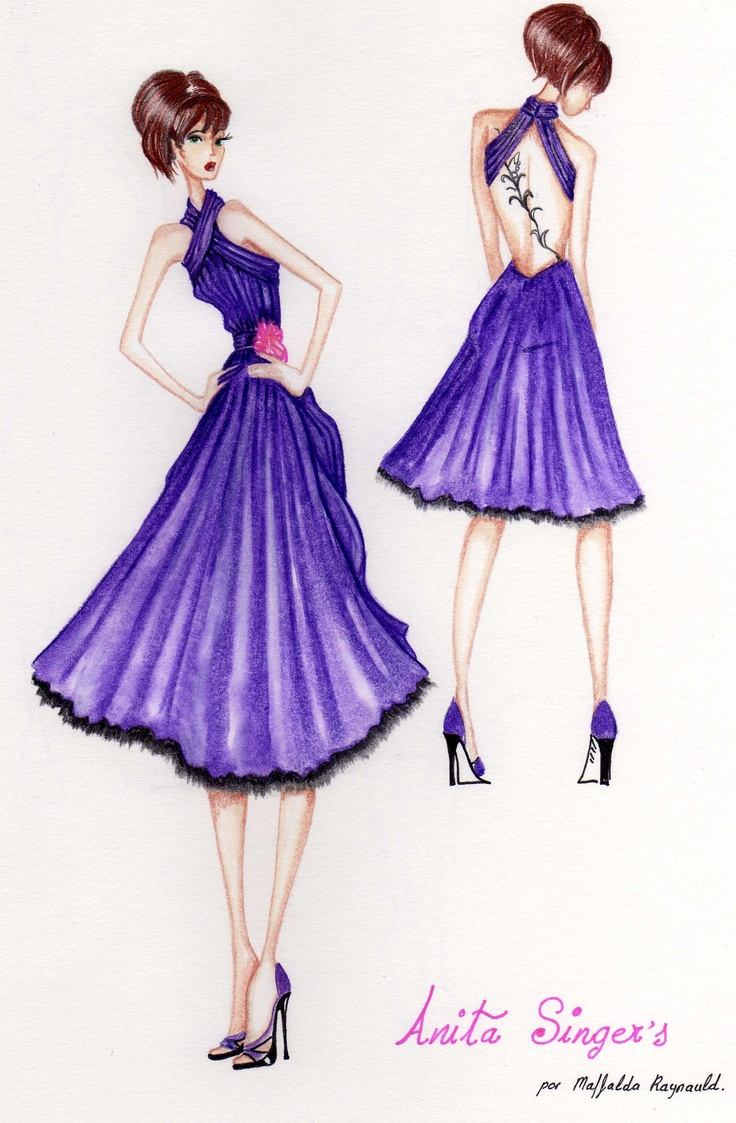 Ilustración Vestido Berta.http://www.facebook.com/pages/Anita-Singers/565541916806170