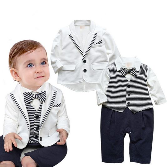 9dacead40 Gentleman baby boy clothes white coat+ striped rompers clothing set newborn  wedding suit