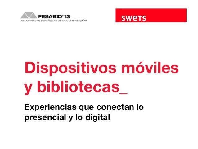 """Descripción del proyecto de la Biblioteca Municipal de Burgos """"Paseos literarios por Burgos"""" en el panel """"Dispositivos móviles y bibliotecas : experiencias que conectan lo presencial y lo digital"""" en FESABID'13."""