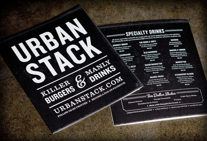 via Art of the Menu...  Urban Stack is in Chattanooga, TN and this stuff was designed by Steve Hamaker