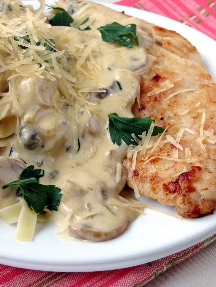 """Chicken Scallopini With Mushroom Sauce -  While many have heard of veal scallopini, you can make this Italian dish with most any meat or even vegetables. The trick is to use a demi-glace of the same style -- i.e., a venison demi if using deer. You can 'fake' a demi-glace by reducing an appropriate brown stock and adding a water and flour slurry to thicken. Makes an awesome romantic dinner for two. """""""