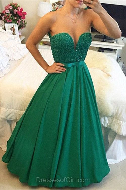 Scoop Neck Prom Dresses, Princess Prom Dress, Satin Evening Gowns, Green Party Dresses, Tulle Formal Dresses