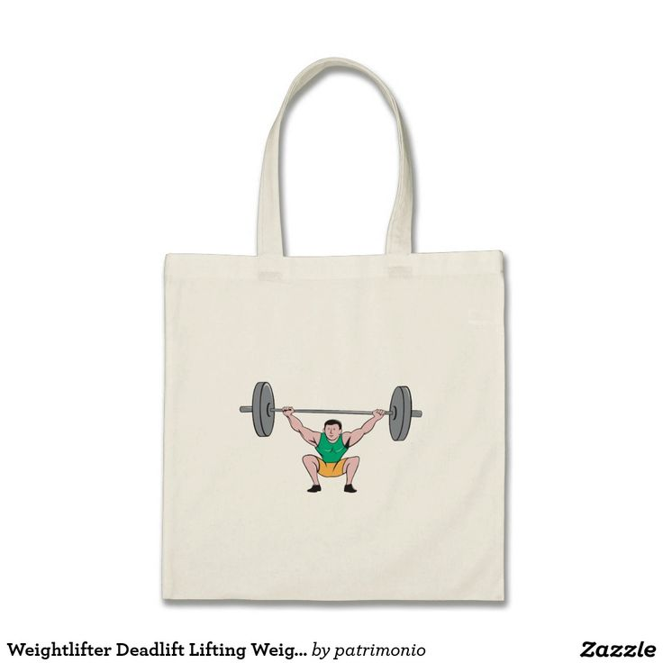 Weightlifter Deadlift Lifting Weights Cartoon Tote Bag. Illustration of a weightlifter deadlift lifting weights viewed from front set on isolated white background done in cartoon style. #weightlifting #olympics #sports #summergames #rio2016 #olympics2016