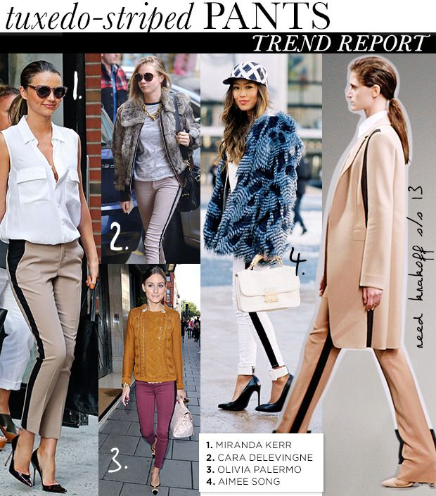 Update your everyday mix with the universally flattering and easy to wear tuxedo stripe pants. via @WhoWhatWear