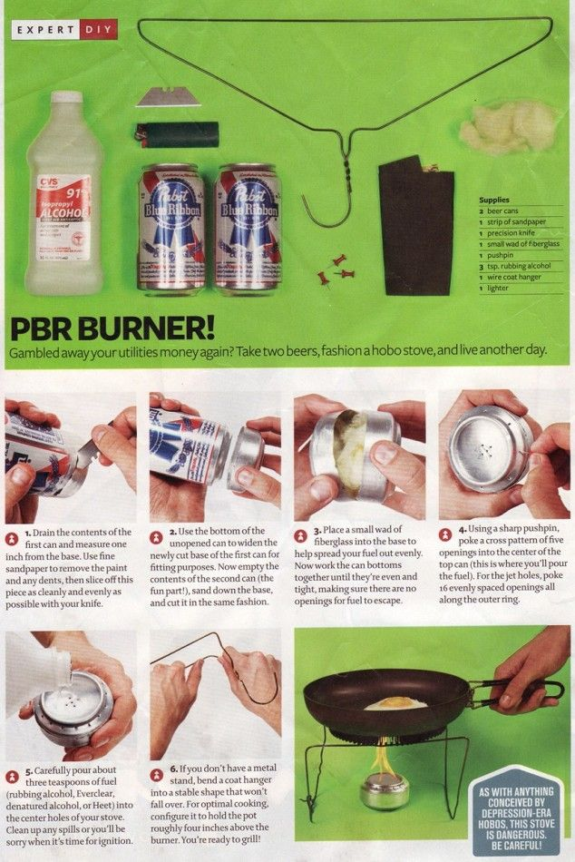 Beer Can Stove - I'll probably never use this, but good to know for the zombie apocalypse