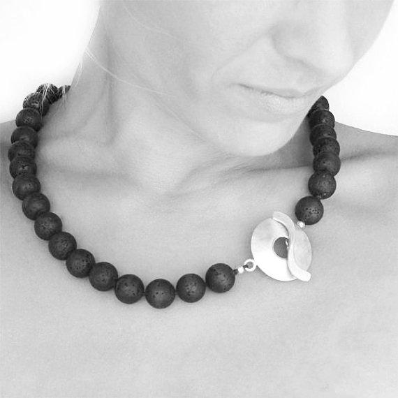 Black Lava Rock Necklace  Santorini Necklace  by SunSanJewelry,