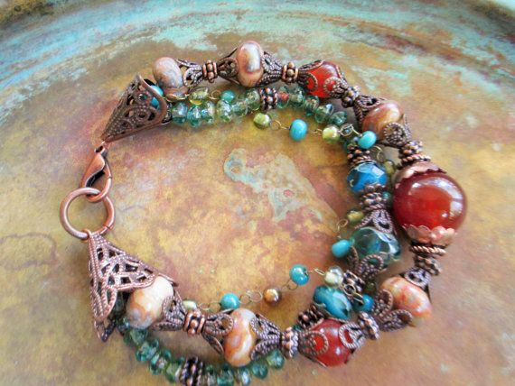8 3-Strand Capri-blue Picasso glass bracelet made w/Carnelian, agate,aqua Picasso glass, copper spacers, 3mm amber &turquoise wired beads, lacy