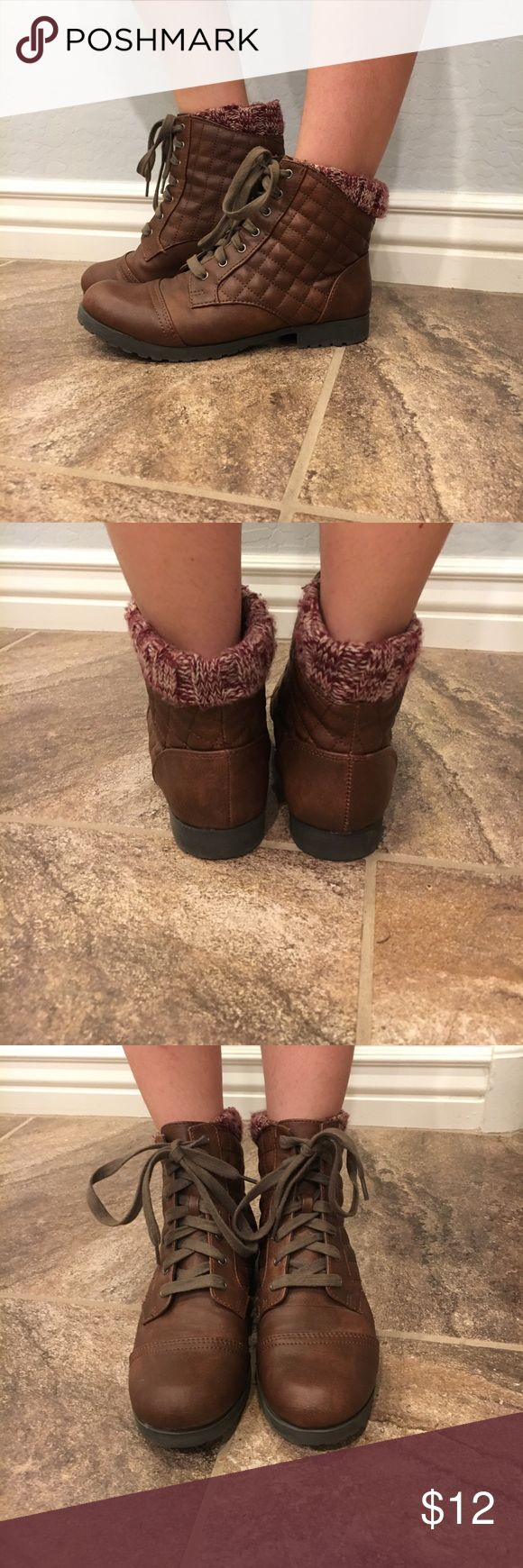 Booties Sweater cuff. Worn twice, amazing condition. Designed stitching Tilly's Shoes Ankle Boots & Booties