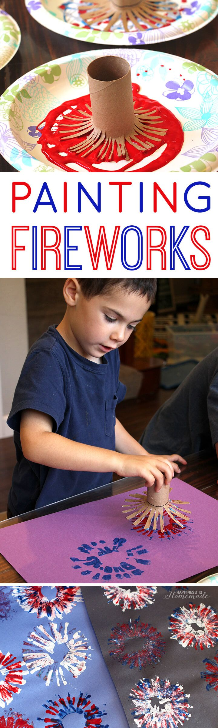 Painting Fireworks 4th of July Kids Craft Activity