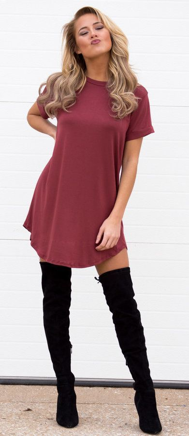 #fall #outfits women's purple short-sleeved dress and black knee-high boots outift