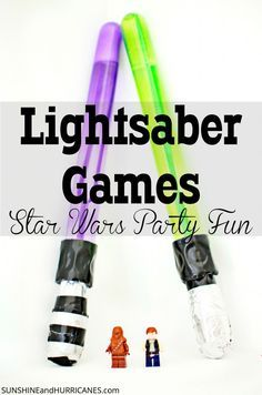 Fun game for birthday parties or at home! These challenging ideas will keep the kids entertained as they strive to beat each level with a homemade lightsaber. The bubble wand lightsabers are a perfect party favor as well. Lightsaber Games