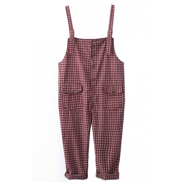 Vintage Gingham Pattern Varsity Style Overalls with Double Pockets ($19) ❤ liked on Polyvore featuring jumpsuits, vintage jumpsuit, vintage overalls, playsuit romper, bib overalls and romper jumpsuit
