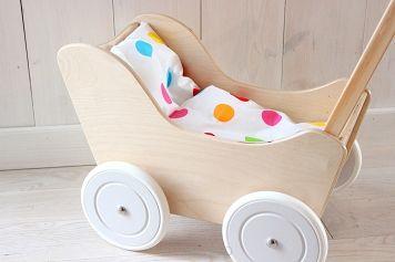 NOWOŚĆ !! Wózek ZUZIA dla lalek / EKO, drewniany - Bim-Bam.Eu - Zabawki drewniane - Wózki drewniane - Domki drewniane