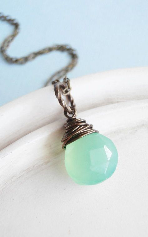 Chalcedony Necklace Wire Wrapped Gemstone