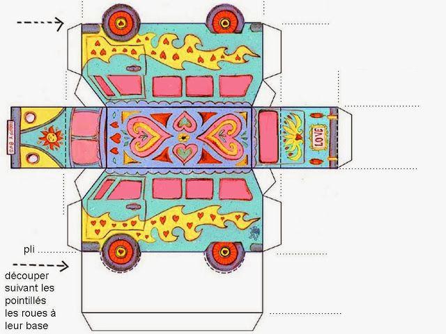 60´s Volkswagen Free Printable party favor Box.