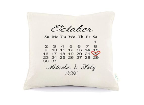 Calendar pillowPersonalized Wedding Pillow 2nd by Tulito on Etsy