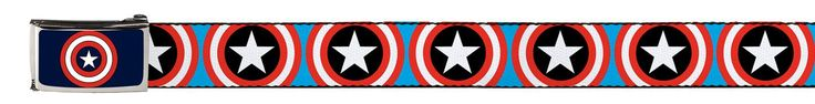 """Soft 1.5 inch wide fabric features a light blue background with Red, White, and Blue classic Captain America shields. The nickel buckle features a dark blue background with the superhero's shield in the center. The belt is fully adjustable up to 58 inches. It also comes with instructions to """"""""cut to fit"""""""". Just take off the buckle, and cut the fabric where you want it to be. Made in America, just like the Captain. Show who your favorite Avenger is with this fabric belt."""