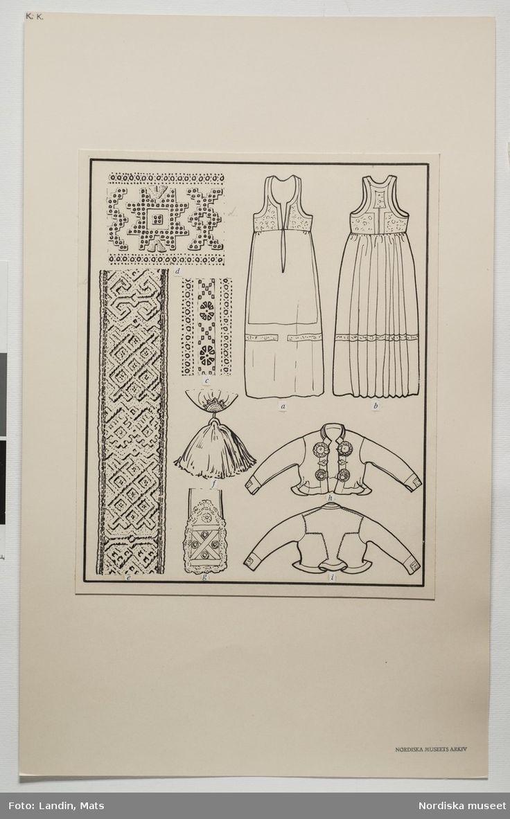 DigitaltMuseum - Festdräkt för gift kvinna Järrestads härad, Skåne. Teckning av Emelie von Walterstorff. (E.v.Walterstorff).