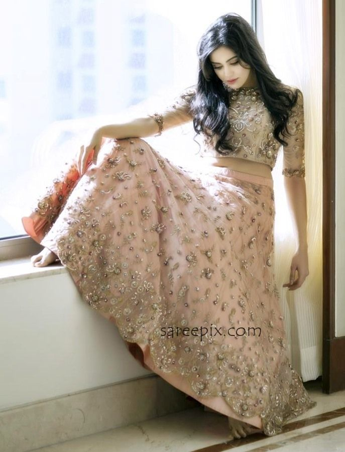 "Adah sharma in pastel pink bridal lehenga for GnG magazine. The ""Rana Vikrama"" heroine looks eye catchy in lehenga with matching backless blouse."