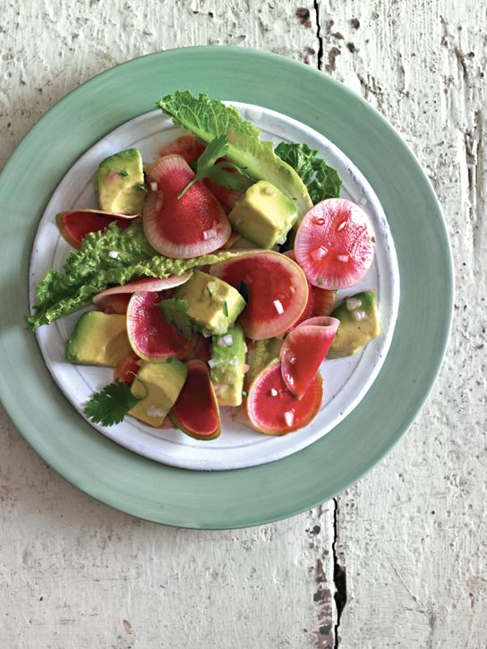Watermelon Radish Salad with Avocado VinaigretteEaster Dinner, Avocado Vinaigrette, Avocado Salad, Watermelon Radish, Williams Sonoma, Easter Recipe, Watermelonradish, Food Blog, Radish Salad