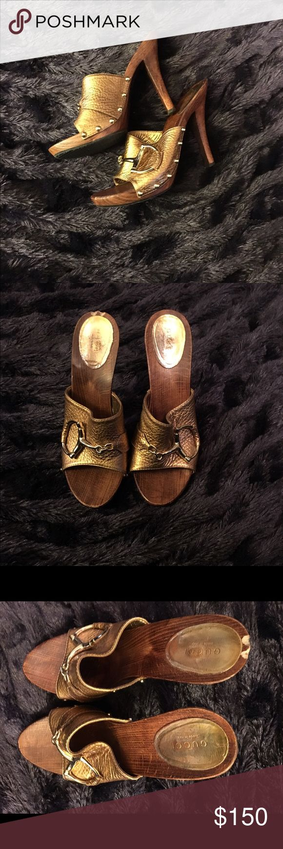 """Gucci Bronze Size 8/81/2 Studded High Heel Clogs Gucci Horsebit Bronze Size 8/81/2 Studded High Heel Clogs - 5"""" in Height. Slight damage on wood back of one seen in photo but not when wearing. Super cute. Gucci Shoes Mules & Clogs"""