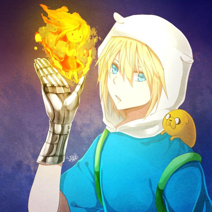 Adventure Time Anime | Tags: Anime, Princess, Fire, Orange Outfit, Dog, Hood, Orange Dress