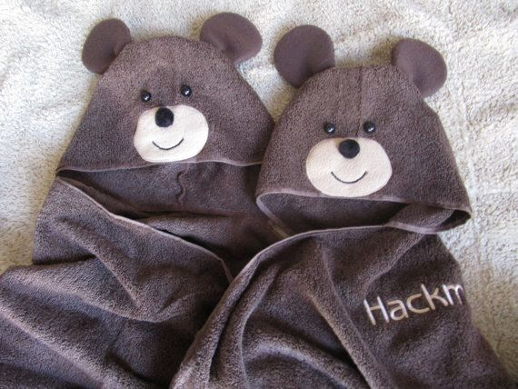 Bear Hooded Towel for Beach Pool or Bath by TwoChicklets on Etsy