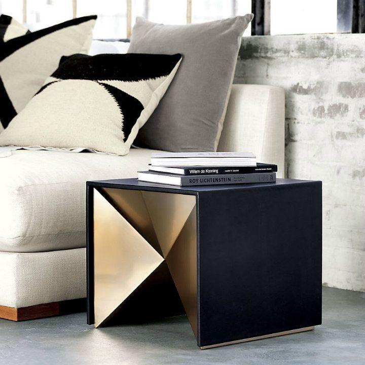Geometric Black And Gold Side Table For A Bedroom Interior #sidetabledesign  #moderndesign #bedroom