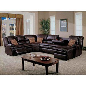 Brown Bonded Leather Sectional Sofa Recliner Chaise Cup Holder