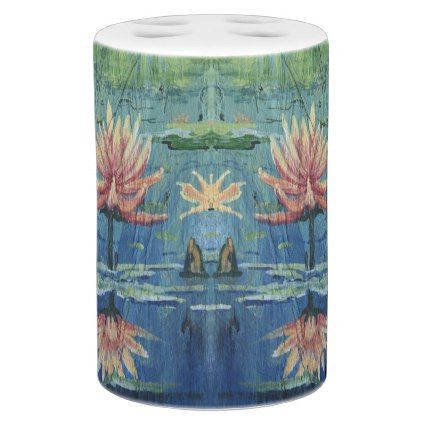 Colorful Tropical Custom Peach Lilies Bathroom Set - diy cyo customize create your own personalize
