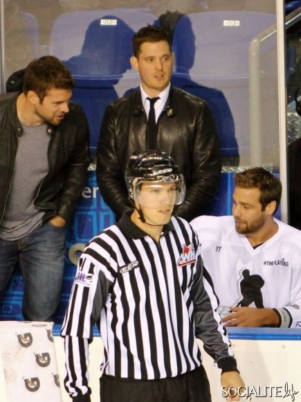 Michael Buble Warms The Bench At Hockey Game