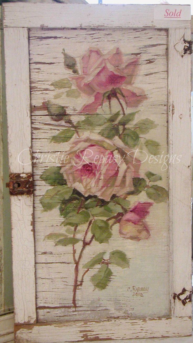 Original rose on tattered door, design after C.Klien~ C.Repasy- I want to copy this as the door to my pink bedroom