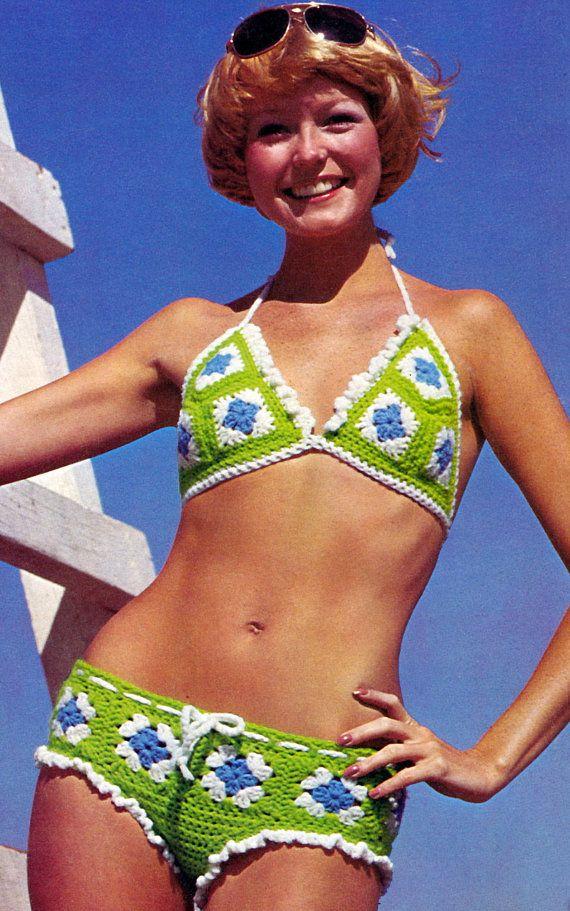 1970s Sexy, Granny Sqauare Hip Hugger Bikini, vintage pattern.