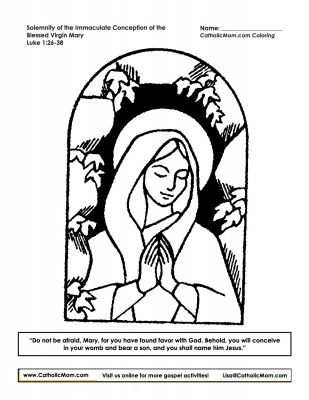 Printable coloring page for today's Solemnity of the Immaculate Conception of the Blessed Virgin Mary: http://catholicmom.com/2014/12/08/immaculate-conception-coloring-page-printable/