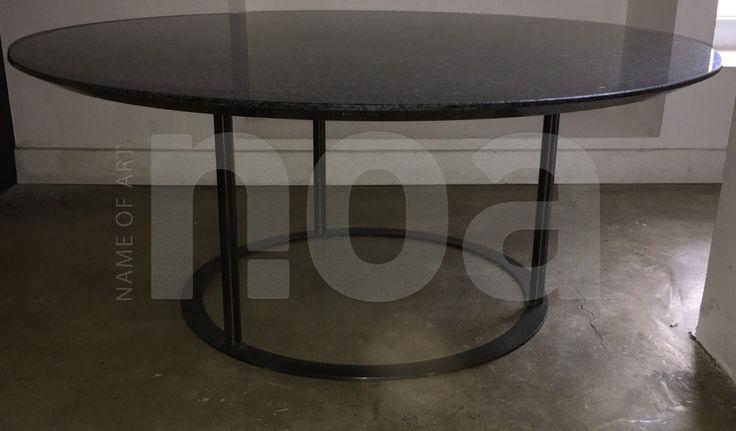 #Laura #GRIZIOTTI, #édition #ARFLEX 1981, #table #tablebasse ou #guéridon #acier #noir et #granit #coffeetable #vintage #design
