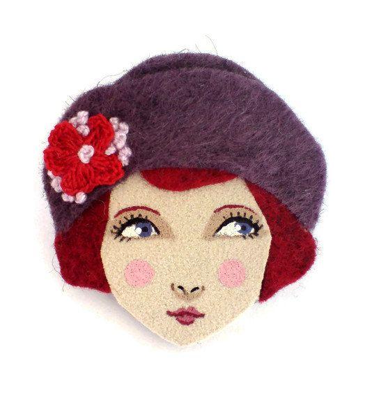 Felt brooch Louise Pretty 1920s girl purple red brick by yalipaz