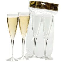 Plastic champagne flutes, but look real! Definitely worth looking into to save a few pennies!